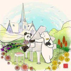 Commission: Photographer Polar Bear and Pianist Pandas Wedding Invitation