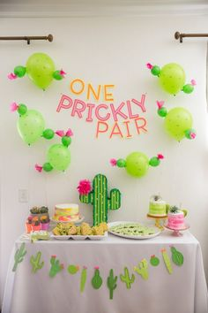 One Prickly Pair Twin Birthday Party For my twins birthday, I chose a prickly pair birthday party. It made sense to decorate with cacti because the trend is so popular right now. Twin Birthday Parties, Twin First Birthday, Birthday Party Themes, Fiesta Theme Party, Taco Party, Party Decoration, Birthday Decorations, Llama Birthday, Twins 1st Birthdays