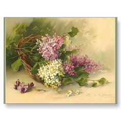 Catherine Klein...lilacs in basket...