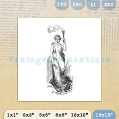 Printable Classical Woman with Torch by VintageRetroAntique @ VintageRetroAntique.Etsy.com