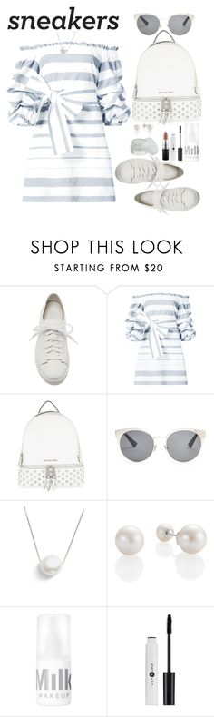 """White Sneakers"" by marionmeyer ❤ liked on Polyvore featuring Santoni, Alexis, MICHAEL Michael Kors, Christian Dior, Chan Luu, MAC Cosmetics and whitesneakers"