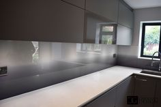 Printed Gradient Splashbacks by CreoGlass Kitchen Splashback Tiles, Kitchen Worktop, Kitchen Units, Splashback Ideas, Kitchen Ideas, Printed Glass Splashbacks, Taupe Kitchen, Small American Kitchens, Glass Kitchen