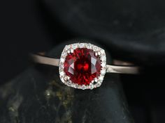 Bella Petite Size 14kt Rose Gold Ruby and Diamond Cushion Halo Plain Band Engagement Ring (Other metals and stone options available)