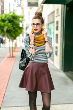 striped top, infinity scarf, leather skirt, burgundy, mustard, stripes