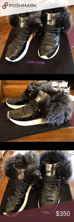 Esseutesse patent sneakers with fur EUC black patent leather sneakers with removable fur trim and silver tongue. Fabulous Italian shoes only sold in a handful of US stores. Fits a size 8. esseutesse Shoes Sneakers