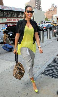 34e3f3369f8 Lala Anthony s Madison Square Garden Elizabeth James Yellow Asymmetrical  Top