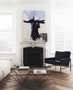 Minimalist living room with modern art