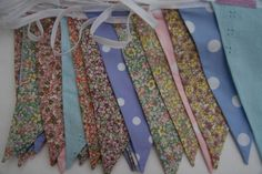 English Country Garden Wedding Bunting, from per metre for 4 day hire period, high quality fabric bunting made in Chester. Fabrics include ditsty florals and polka dots in pastel shades. Wedding Bunting, Wedding Decorations, Garden Bunting, Country Garden Weddings, English Country Gardens, Fabric Bunting, Pastel Shades, Chester, Florals