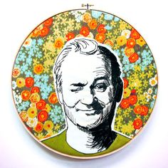 pop culture embroidery - Bill Murray, you're awesome.