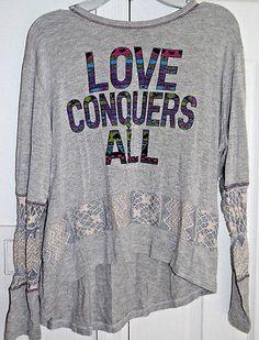 Libertalia Girls Long Sleeve Shirt Top Gray LOVE CONQUERS ALL Size XL 14 16 js