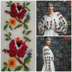 peasant blouse romanian blouse La Blouse Roumaine peasant handmade blouse… Hand Embroidery Dress, Folk Embroidery, European Costumes, Beaded Banners, Palestinian Embroidery, Folk Fashion, Folk Costume, Traditional Dresses, Handicraft