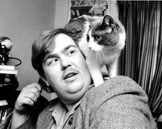 john candy and cat -- LOVE! Crazy Cat Lady, Crazy Cats, I Love Cats, Cool Cats, Cool Runnings, Men With Cats, Celebrities With Cats, Son Chat, Cinema