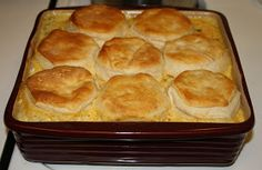 The Pioneer Woman's Chicken Pot Pie Biscuits on top for pie crust!  Can freeze this pie filling!