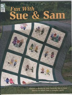 Sunbonnet Sue and Sam have been favorite applique and embroidery motifs for stitchers and quilters for many years. The patterns in this book show the duo involved in everyday activities, including fun things like skating, building a sand castle, swin. Sunbonnet Sue, Hanging Quilts, Quilted Wall Hangings, Applique Quilt Patterns, Applique Templates, Print Patterns, Stitch Book, Embroidery Motifs, Doll Quilt
