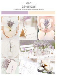 Lavender herb natural organic wedding inspiration board, color palette, mood board via Weddings Illustrated