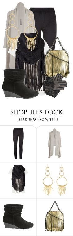 """""""Gold Fringed Mini"""" by simply-one ❤ liked on Polyvore featuring SPANX, Rick Owens, 360cashmere, Aurélie Bidermann and STELLA McCARTNEY"""