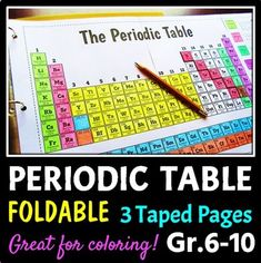 Large periodic table interactive notebook foldable. This big, 3 page, periodic table foldable will get your students excited about learning about the elements of the periodic table!