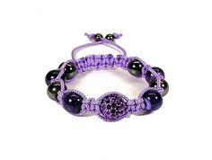 Macrame Bracelet with Purple Dragon Vein and Hematite Beads with Pave This Bracelet is on Sale for 24 hours. $5.00 off list price, $15.00