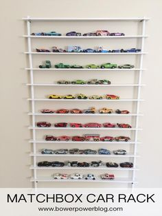 Wow! For anyone who has A TON of hot wheels cars laying around the house...this is a MUST! Teach the kiddos to organize their stuff...and color coordinate! All the colors of the rainbow lined up! so cool. #hotwheels #organize #kidsrooms