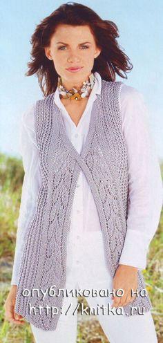 Вязание спицами. Женский жилет с разрезом - Болеро,Жилеты