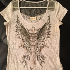 Miss Me too with lace Miss Me top. Never worn. Design with lace. Super cute shirt Miss Me Tops Tees - Short Sleeve