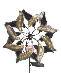 Look what I found on #zulily! 37'' Brown Metal Solar Kinetic Leaf Stake #zulilyfinds