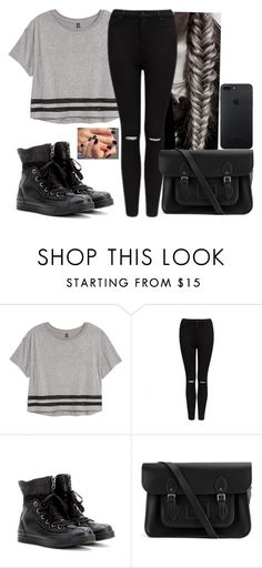 """""""Love me🖤🖤"""" by hannahmcpherson12 ❤ liked on Polyvore featuring H&M, Forever New, Converse and The Cambridge Satchel Company"""