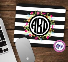 Rugby Stripe Monogrammed Mouse Pad-Monogram Mouse Pad-Personalized Mouse Pad-Desk Accessories by OhMyWordDesigns on Etsy https://www.etsy.com/listing/226368302/rugby-stripe-monogrammed-mouse-pad