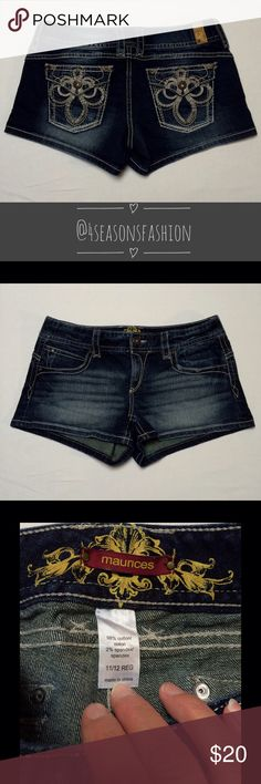 🎉 CHECK THIS OUT 🎉 MAURICES DARK WASH JEAN SHORTS SZ 11/12. Super cute. Prestige condition. Nice design on the back flap pockets. Any questions about this item, please message me before you buy. Thank You. Maurices Shorts Jean Shorts