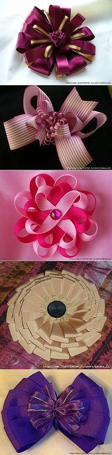 Без заголовка Kanzashi Tutorial, Ribbon Flower Tutorial, Diy Ribbon, Ribbon Work, Making Hair Bows, Diy Hair Bows, Making Fabric Flowers, Paper Flowers, Ribbons Galore