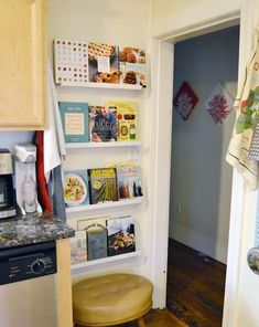 Store favorite cookbooks in narrow kitchen space