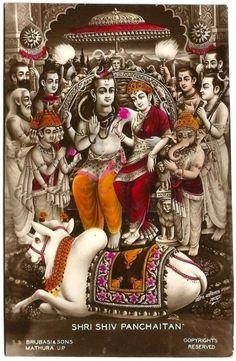 Shri Shiv Panchaitan c.1910 S.S.Brijbasi & Sons. Mathura, UP India Hindu Gods photo colored postcard (via ebay: alphaomegaphilately)