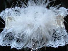 genuine white leather and lace wedding bridal garter with white marabou feathers