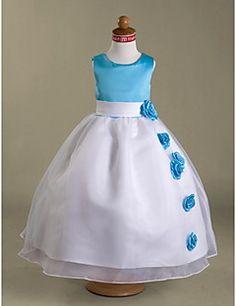 Flower Girl Dress Longueur ras du sol Satin/Organza Mode de bal Sans manches Robe