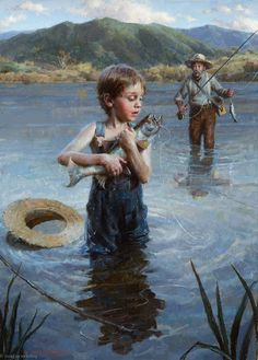 """""""The Big Catch"""" -- by Morgan Weistling American) Morgan Weistling, Great Paintings, Old Master, Source Of Inspiration, Art World, Impressionism, Fine Art, Drawings, Fishing"""