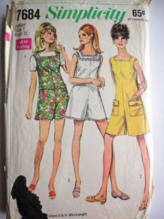 Vintage 1968 Simplicity 7684 junior Pantdress by HistoricalVintage, $5.50