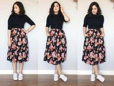 Love the floral skirt! Modest Outfits, Classy Outfits, Skirt Outfits, Modest Fashion, Skirt Fashion, Stylish Outfits, Fashion Dresses, Trendy Dresses, Casual Dresses