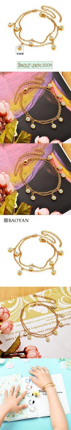 ByaoYan Gold Color Zircon Charm Bracelet 316L Stainless Steel Bracelet for Women -A5