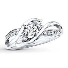 this is my dream ring!! simple and elegant !!Three-Stone Engagement Ring 3/8 ct tw Diamonds 14K White Gold