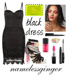 """""""black dress"""" by namelessginger ❤ liked on Polyvore featuring Love & Lies, MAC Cosmetics, Sophia Webster, Charlotte Olympia, Ariella Collection, blackdress, lacedress and bustierdress"""