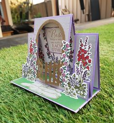 Stampin up Grace's Garden centre step Anniversary card. Fun Fold Cards, Pop Up Cards, Cute Cards, Handmade Birthday Cards, Greeting Cards Handmade, Trifold Shutter Cards, Center Step Cards, Cascading Card, Card Making Templates