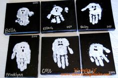 ghostly handprints, kid craft