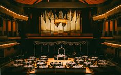 A wedding reception on the stage of Jack Singer Concert Hall, Arts Commons, Calgary Photo courtesy of Salt Co. Concert Hall, Calgary, Wedding Reception, Wedding Planning, Stage, Weddings, How To Plan, Photography, Art