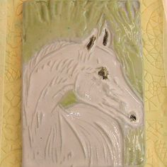 Your place to buy and sell all things handmade Linoleum Block Printing, Clay Tiles, White Horses, Decorative Tile, Horse Head, Spring Green, Green Backgrounds, Porcelain Tile, Limited Edition Prints