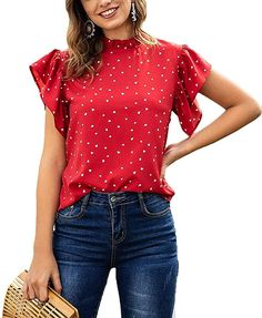 Lilosy Women Casual Heart Print Ruffle Short Sleeve Mock Neck Work Blouse Elegant Polka Dots Top Summer Shirt Red Medium at Amazon Women's Clothing store Business Professional Outfits, Business Casual Outfits For Women, Casual Work Outfits, Casual Wear, Office Outfits Women, Ruffle Shorts, Work Blouse, Clothes For Women, Tops