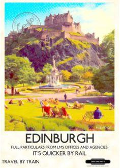 """vintage poster Edinburgh Castle"""