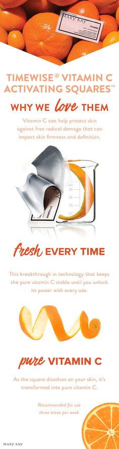 TimeWise® Vitamin C Activating Squares™ are a beauty-industry first: a breakthrough in technology that delivers pure vitamin C to your skin in a tiny, dissolvable square. | Mary Kay