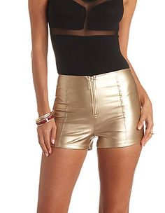 Gold Metallic Faux Leather High-Waist  Shorts : Charlotte Russe $20