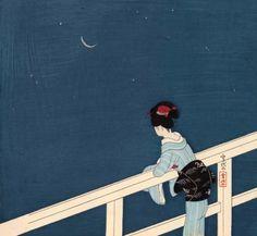 Komura Settai 小村雪岱 Girl Watching the Stars and Waning Moon, 1935 Cara Fresca, Hokusai, Art Japonais, Japanese Painting, Saitama, Japanese Prints, Japan Art, Moon Art, Woodblock Print