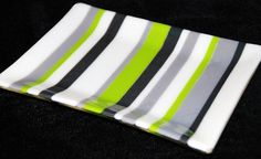 "Classic Lines Fused Glass Plate, Stripes in Green and Grays, 6"" x 8"", Shipping Included on Etsy, $52.00"